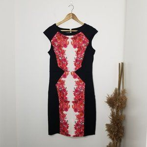 Sangria | Floral Stretch Sheath Dress Size 12